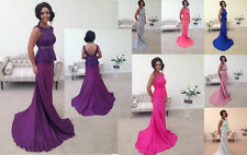 LACE BRIDESMAID DRESS PINK FISHTAIL EVENING PROM PARTY WEDDING BACKLESS