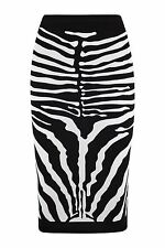 Kim Kardashian Zebra Skeleton Print Stretchy Pencil Skirt 8-14