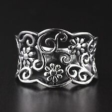 Womens 925 Sterling Silver Vintage Style Adorned Filigree Flowers Ring 15mm Wide