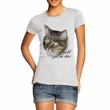 Women Cotton Novelty Joke Cat Print Cat Quote I could Pee On That T-Shirt