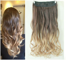 New Hot Fashion Clip in on Ombre Hair Extensions Synthetic Curly Wavy Blonde