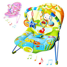 UNISEX BABY ROCKER BOUNCER CHAIR WITH SOOTHING MUSIC, VIBRATION  & HANGING TOYS