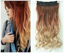 Dip dye Synthetic Ombre Clip in on Hair Extensions Synthetic Curly Wavy Blonde
