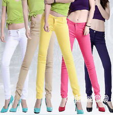 Women 11 Color Stretch Candy Pencil Pants Casual Slim Fit Skinny Jeans Trousers