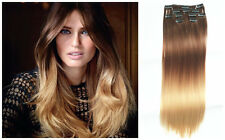 Synthetic Full Head dip dye Clip in Ombre Hair Extensions Straight Curly Wavy