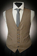 W - 511. MENS GOLD RED AND NAVY DIAMOND OCCASION FORMAL WAISTCOAT