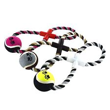 Pet Dog Puppy Rope Tennis Ball Toy Tug Of War Chew Training Game Activity Treat