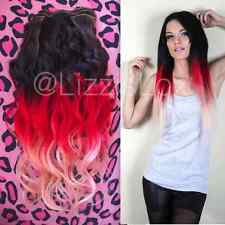 Black Red Balayage Ombre Dip Dye Clip In Remy Human Hair Extensions 20""