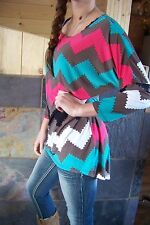 Made USA stretch Western Brown/teal Chevron PRINT top Women sizes are S M L XL
