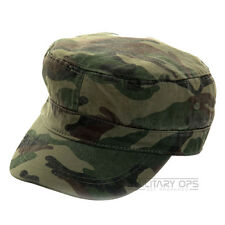 FITTED CADET CAP HAT GREEN WOODLAND CAMO MILITARY STYLE ARMY BASEBALL