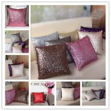 Stylish Comfy Solid Color Sequins Cushion Cover Throw Pillow Case Cafe Decor H