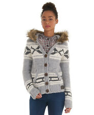 New Womens Superdry Eliza Hoodie Cardigan Knit Jumper Grey Marl SD