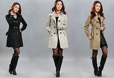 Fashion Women Casual Long Trench Double Breasted Coat Jacket Outwear Top Blouse
