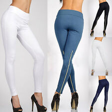 Fashion Womens Trendy Leggings Solid Color Zipper High Waist Stretchy Trousers