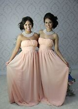 Long chiffon sera formale Party Prom abito damigelle nozze LOTTO 603 PEACH