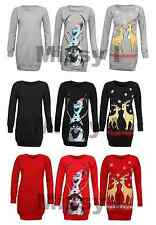 Womens Christmas Reindeer Olaf Print Sweatshirt Long Length Jumper Dress 8-22