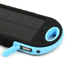 5000mAh Solar Panel Power Bank Dual USB External Battery Charger for iPhone HTC