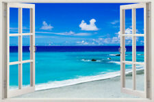 3D Beach Wall Stickers Window View Home Decor Deco Art DIY Removable Vinyl Decal