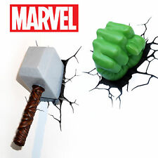 3D FX Marvel Lights - Spiderman, Iron Man, Hulk, Captain America, Thor, Wall