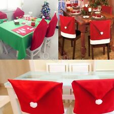 1/2/4/6 Santa Clause Red Hat Chair Back Cover Christmas Dinner Table Party Decor