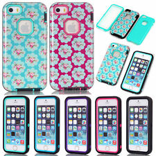 Armor Glossy Flower Pattern TPU Rugged Heavy Duty Case Cover For iPhone 5S SE 5C