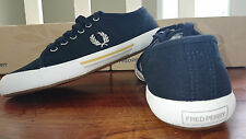 FRED PERRY MEN BOY NAVY BLACK VINTAGE TENNIS CANVAS LACEUP TRAINER SHOEs SNEAKER