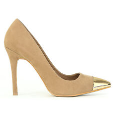 Trendy Chic Suede Pointy Toe Gold Cap Covered Slender Stilettos Heel Pump  Nude