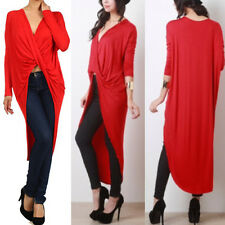 New women's twisted drape jersey solid color wrapped hi-lo maxi top S M L