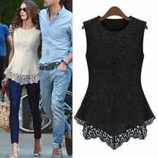 New Ladies Women Lace Blouse Sleeveless shirt Doll Chiffon Tops S M L XL-XXXL