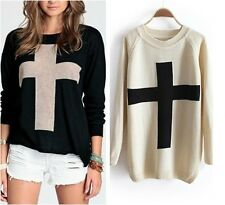 Fashion Women Cross Pattern Knit Sweater Outerwear Crew Pullover Thick Tops