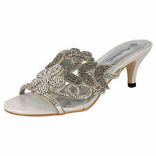 Anne Michelle F10288 Silver Satin Diamante Strap Evening Mule Sandals