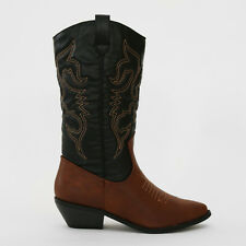 "Western Cowboy Cowgirl Mid-calf Boots 1 3/4"" Stacked Heel (B, M) Tan &Black"