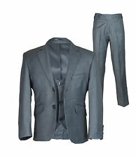 Designer Boys Grey Formal Suit, 3PC Slim Fit Page Boy Wedding Suits Age 1 to 15