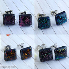 Pair 22G Dichroic Lampwork Glass Square Rhombus Bead Women Earrings Ear Studs