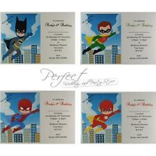 10 Super Heroes Personalised Birthday Party White Invitations Includes Envelopes