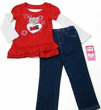 Young Hearts Red 2 Pieces Set Girl  Long Sleeve Top  Denim Pants Size 4 5 6 6X