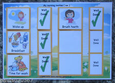 **NEW** Visual to do Morning / Evening Large A4 cards OR Strips for Boy / Girl