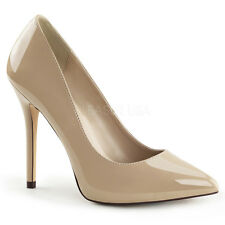 "PLEASER AMU20/CR Sexy Neutral Nude Cream Pumps 5"" High Heels Stilettos Shoes"