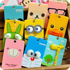 Cute Lovely Cartoon Card Holder Sleeve Set Key Chain Keyring Bus IC Credit Cards