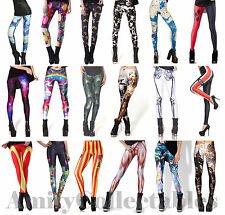 Women's [Ladies] Printed Leggings Stretchy [Galaxy, Unicorn, Milk, Alice, Black]