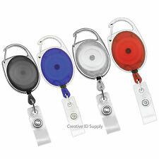 50 CARABINER RETRACTABLE ID BADGE HOLDER KEY ID CARD BADGE TAG CLIP HOLDER