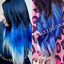 """Black Blue Blonde Ombre Dip Dye Clip In REAL HUMAN HAIR Extensions 20"""" FULL SET!"""