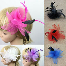 1x Multicolor Fascinator Net Flower Feather and Bead Hair Clip Hairdress Wedding