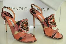$1445 New MANOLO BLAHNIK RONDANYJeweled CORAL PINK Python SANDALS SHOES Heels 40