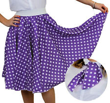 PURPLE POLKA DOT SKIRT WITH WHITE SPOTS & SCARF 1950S ROCK AND ROLL FANCY DRESS
