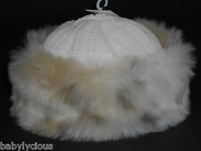 BABY GIRL HAT FAUX FUR TRIM RUSSIAN STYLE CREAM BEIGE GORGEOUS WINTER ACCESSORY