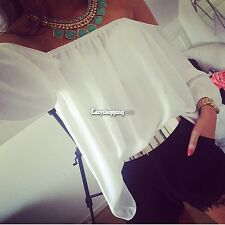 Women Blouses Off The Shoulder Sexy Backless Chiffon Shirts Full New Tops ES9P