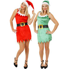 SEXY ELF OR SANTA COSTUME CHRISTMAS FANCY DRESS LADIES WOMENS XMAS PARTY OUTFIT