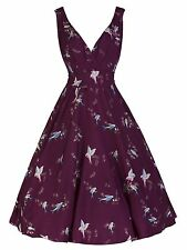 NEW RETRO VINTAGE 1940's 1950's 'MARILYN' PLUM BIRD PRINT DRESS 8 - 22  BNWT