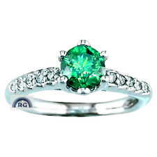 1.00 CT Round NATURAL GREEN & WHITE DIAMOND RING 18K/ 14K GOLD ENGAGEMENT EW EHS